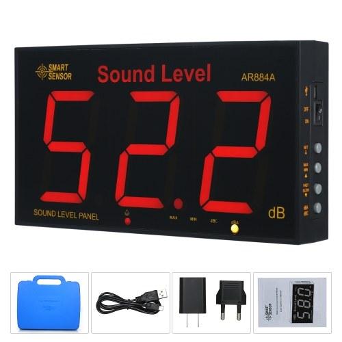 СМАРТ ДАТЧИК AR884A Измеритель уровня звука с большим ЖК-экраном Настенный цифровой измеритель уровня звука Цифровой шумомер Цифровой шумомер Мониторинг-тестер Прибор для измерения уровня шума 30-130 дБ Диапазон измерения