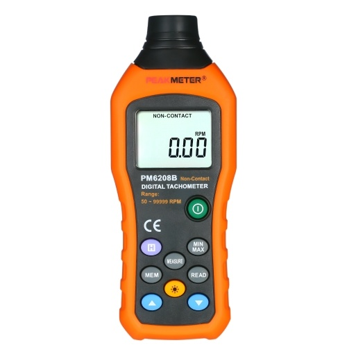 PEAKMETERプロフェッショナルハンドヘルドデジタルフォトタコメーター非接触タコメーター範囲50〜99999 rpm液晶ディスプレイモータースピードメーター(反射テープ付き)