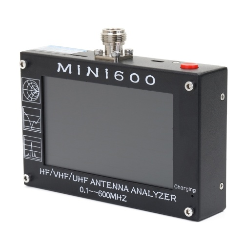 """MiNi600 5V 1.5A HF VHF UHF Antenna Analyzer 0.1-600MHz Frequency Counter SWR Meter 1.0-1999 with 4.3"""" TFT LCD Touching Screen"""