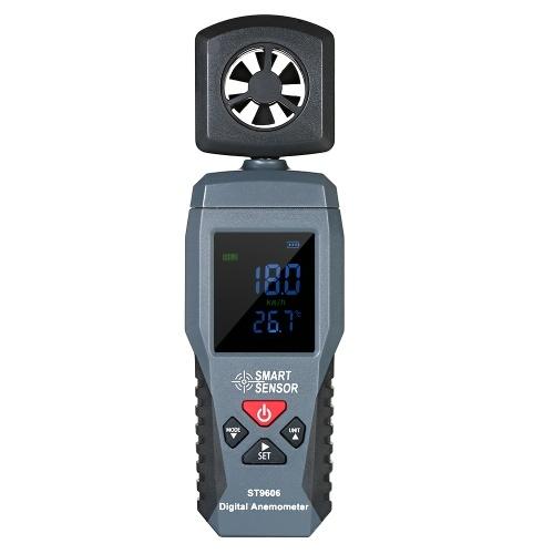 スマートセンサーST9606デジタルLCD風速計温度計ポータブル風速測定計バックライト付き風速計