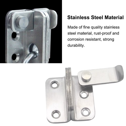 Stainless Steel Gate Latches Left/Right Door Padlock Latch Safety Door Lock with Padlock Hole