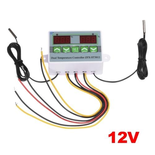 Regolatore di temperatura digitale intelligente per microcomputer con doppio display ZFX-ST3012 Interruttore di controllo della temperatura termostato elettrico 12V / 120W