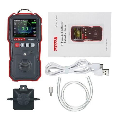 wintact Высокоточный измеритель концентрации сероводорода Профессиональный портативный детектор концентрации сероводорода (H2S) с ЖК-дисплеем 120000 для регистрации данных и звуковой и вибрационной сигнализацией 0 ~ 100 мкмоль / моль