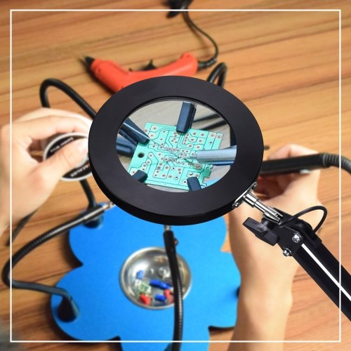 LED Lighting 5X Magnifying Lamp with Clamp Hands-free Magnifying Glass Desk Lamp Swivel Arm Adjustable USB-powered Lamp Magnifier 3 Modes Dimmable LED Lamp with Magnifier фото