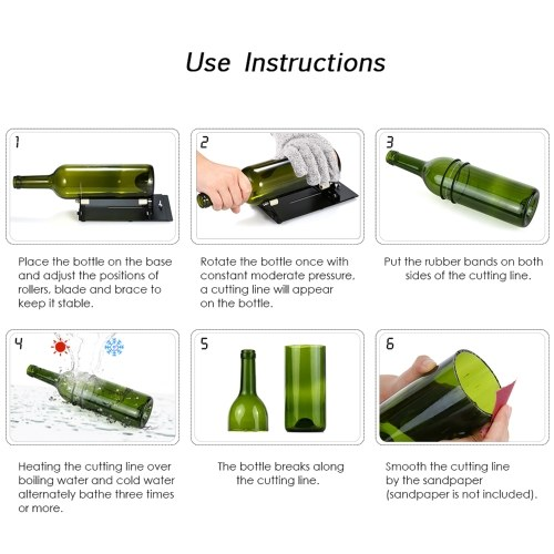 Glass Bottle Cutter Cutting Tool Upgrade Version Square and Round Wine Beer Glass Sculptures Cutter