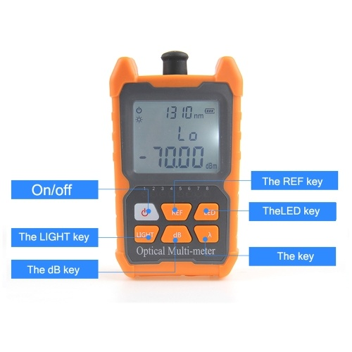 Portable Mini Fiber Optical Power Meter 8 Wavelengths with LED Light Network Cable Tester FTTH Fiber Optic Cable Tester
