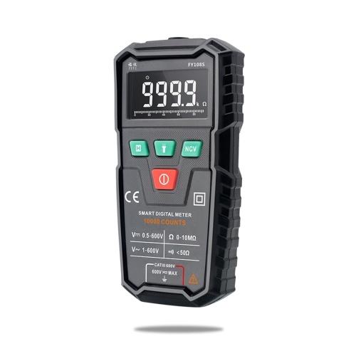 FUYI FY108S 9999 Counts True RMS Digital Multimeter Palm Size Automatic Multimeter Handheld Mini Universal Meter High-precision Electrician Multi-functional Digital Multi-meter Measure Current AC/DC Voltage Continuity Buzzer