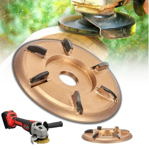 6-Teeth Power Wood Carving Disc Tool Milling Cutter Woodworking Turbo Tea Tray Digging for 16mm Aperture Angle Grinder Gold Arc