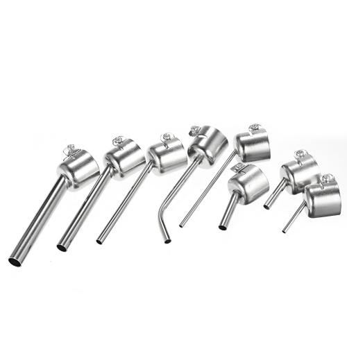 8Pcs Universal Hot Air Generator Nozzles Heat Resistant 45 Degree Bent Long Short Round Heat Air Machine Solder Set Soldering Tool 3/5/6/8/10mm Compat