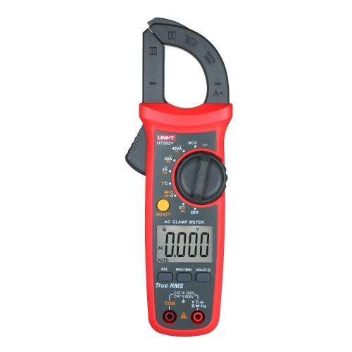 Medidor de pinza digital UNI-T UT202 + 4000 Cuenta RMS verdadero Multímetro de pinza amperimétrica Medidor de voltaje Prueba NCV Prueba de medidor universal Probador de pinza amperimétrica de CA -40 ~ 1000 ℃ Medición de temperatura Capacidad de valor relativo