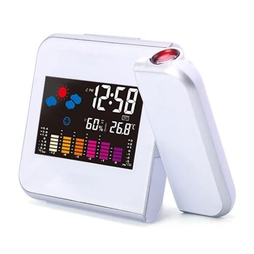 目覚まし時計とウェザーステーション温度計カレンダー日付表示7色変更スヌーズLED投影デジタル時計
