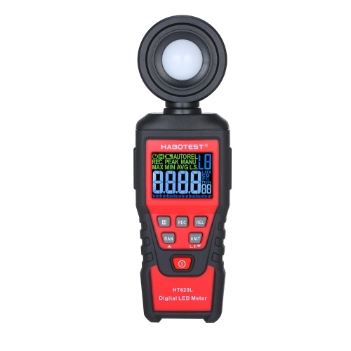 HABOTEST HT620L Handheld Digital Illuminometer Handheld LCD Backlight Lux Light Illuminance Meter Battery-powered Photometer Luxmeter for Plants with 180° Rotatable Probe Measuring Range Up to 100,000 Lux/FC Self-defined Light Source Coefficient and Storage Bag for Indoor Plant Grow LED Lights