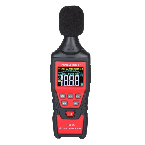 HABOTEST HT622A Digital Decibel Meter LCD Color Screen Handheld Noise Sound Level Meter with Tool Bag Range from 30-130dB(A) for School Classroom Kids(Battery Not Included)