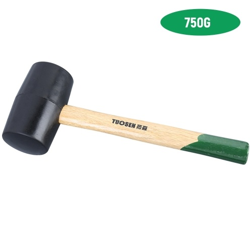60750 Black Rubber Mallet Dual Face Tile Hammer with Wooden Handle