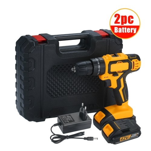 2-Speed Cordless Drill Driver Impact Hammer Drill 2 Batteries Fast Charger 25+1 Clutch Max 40Nm Torque Variable Speed with LED for Drilling Walls Bricks Metals