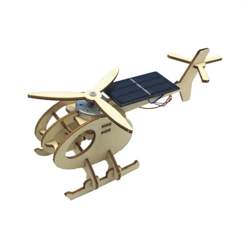 3D Assemble Solar Energy Powered Helicopter Wooden Puzzle Plane Wood Model Building Kit DIY Craft Kit Creative Educational Teaching Toy Gift for Boys Girls Children Kids and Adult
