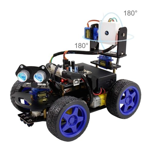 UNO R3 Smart Robot Car Kit Wifi Camera Remote Control STEM Education Toy Car Robotic Kit for Arduino Learner Support Scratch DIY Coding for Kids Teens Adults
