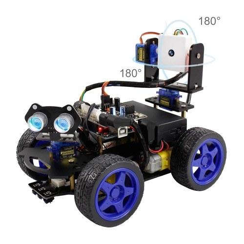 UNO R3 Smart Robot Car Kit Wifi-Kamera Fernbedienung STEM Education Toy Car Robotic Kit für Arduino Learner Support Scratch DIY-Codierung für Kinder Jugendliche Erwachsene