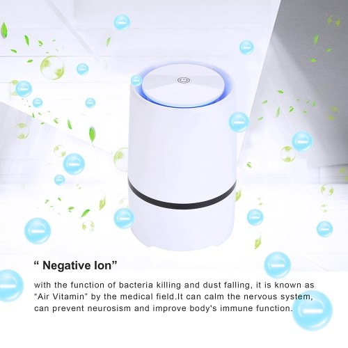 HEPA Air Purifier Air Cleaner for Bedroom and Office Eliminator for Allergies and Pets Smoke Dust Mold Pollen Night Light Low Noise Portable Air Purifier Desktop USB Air Cleaner