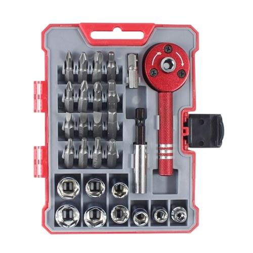 PENGGONG 28pcs Ratcheting Screwdriver Set with 9 Sockets & 16 Bits Multifunctional 28-Piece Home Repair Tool Kit Ratchet Screwdriver & Bit Kit with Storage Case