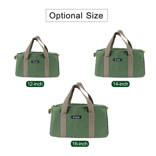 PENGGONG Large Thickened Wear-resistant Maintenance Tool Storage Bag Multifunctional Portable Tool Bag Large Capacity Canvas Bag 12-inch Army Green 16