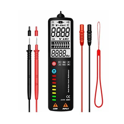 MAXRIENY Detección inteligente de modo dual Detector de voltaje multímetro Resistencia de voltaje CA / CC Medidor de frecuencia Medición de continuidad Cable vivo en medidores de pared Pantalla de 2000 recuentos