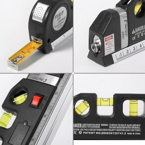 3 in 1 Laser Level Cross Line Ruler With Measuring Tape Plumb/Level/45-Degree