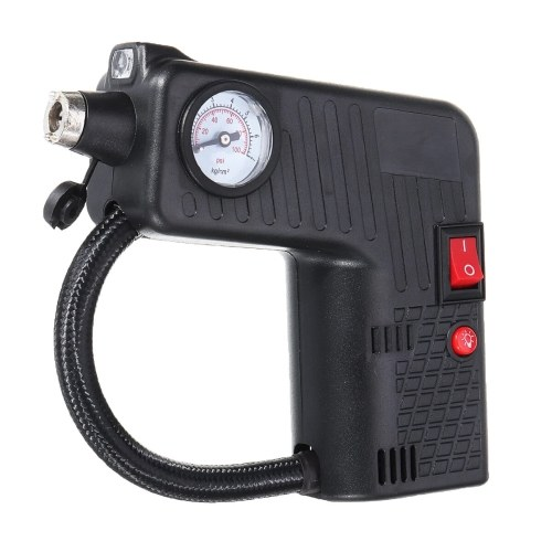 Air Compressor Tire Inflator 12V Car Air Pump with Pressure Gauge Handheld Electric Power Air Pump with Flash Light Safety Hammer for Auto Motorcycle Car Bike