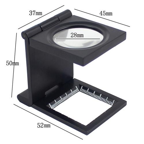 繊維光学ガラス折りたたみ拡大鏡用スケール付き10X 28mmミニ亜鉛合金折りたたみ拡大鏡