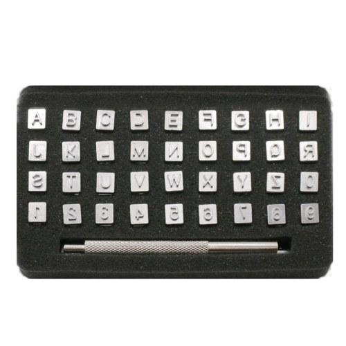 36Pcs Alphabet Letter Number Steel Punch Stamps Set