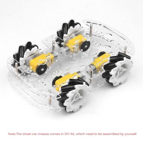 4WD Smart Car Chassis DIY Kit Omni-mobile Dual Layer Platform with 4 Omni-directional Wheels Solid Robotic Platform Transparent Chassis DIY Set