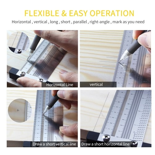 High Precision Metric 300mm Hole Ruler T-type Woodwork Scribbling Marking Stainless Line Gauge Carpenter Measuring Tool with Mechanical Pencil