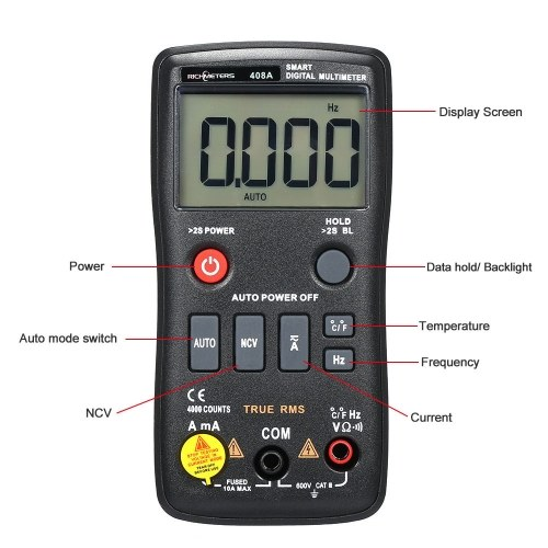 RICHMETERS RM408B Digital Multimeter 8000 Counts True-RMS Auto Ranging AC/DC Voltage Temperature Measuring Meter Flash Light Backlight Large Screen