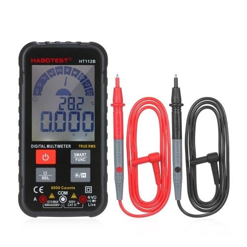 インテリジェント6000カウントTRMSマルチメーターデジタルLCDディスプレイAC / DC電圧計電流計抵抗計テストダイオード周波数容量導通NCVライブラインとフラッシュライト