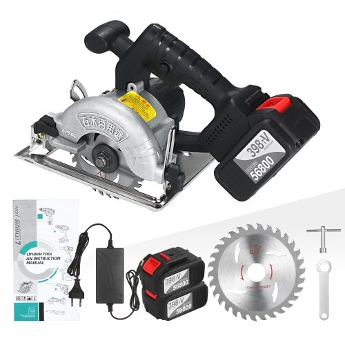 21V Cordless Circular Saw 6500RPM 2x20.0Ah Battery Fast Charger 45 Degree Adjustable Bevel Cutting with 110mm 30T Blades Circular Saw Woodworking Tools
