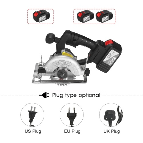 21V Cordless Circular Saw 6500RPM 2x4.0Ah Battery Fast Charger 45 Degree Adjustable Bevel Cutting with 110mm 30T Blades Circular Saw Woodworking Tools