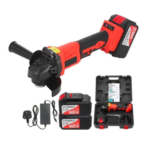 21V Brushless Cordless Angle Grinder Tool 9000RPM 2x20.0Ah Lithium-Ion Battery and Fast Charger 2-Position Adjustable Auxiliary Handle Cutting Machine Polisher