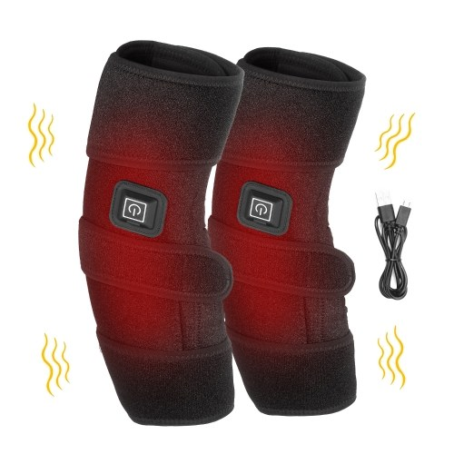 Heated Knee Brace for Pain Relief Reusable Hot & Cold Therapy Wrap with Hook & Loop Tapes USB Powered Heat Wrap Heating Pad with Adjustable Temperature for Knee Injury Surgery Arthritis