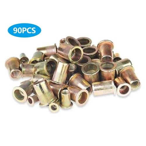 Kit dado per rivetti a testa piatta in acciaio al carbonio placcato in zinco misto 90PCS M3 / 4/5/6/8/10/12