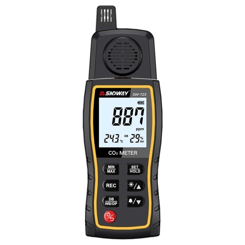 SNDWAY SW-723 Handheld Carbon Dioxide Detector CO2 Gas Concentration Tester Alarm Air Quality Analyzer 0-9999ppm Measuring Range