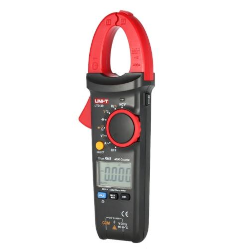 UNI-T UT213B Handheld Digital LCD Clamp Meter Multimeter AC/DC Voltage AC Current Resistance Capacitance Diode Continuity NCV Temperature Measurement Tester with Flashlight