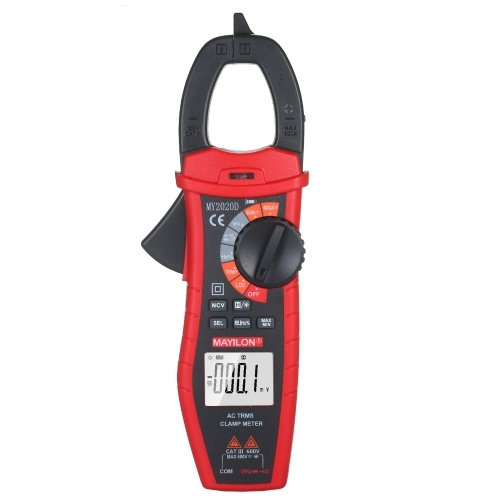 MAYILON Digital AC Current Clamp Meter 6000 Counts Automatic Range LCD Display Multimeter with Backlight Multifunctional Clamp Gauge NCV Test Voltage Tester True RMS Clamp Ammeter Universal Meter Measuring AC Current / AC/DC Voltage / Temperature / Capacitance / Resistance / Diode / Frequency / Duty Circle
