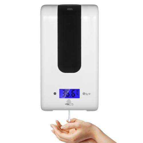 Dispensador de jabón automático con termómetro ℃ / ℉ Dispensador de jabón de 1200 ml sin contacto de inducción infrarroja operado por batería conmutable Traje para hotel de fábrica