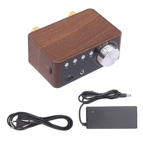 BT 5.0 Leistungsverstärker 100 W Mini-HiFi-Stereo Klasse D Audioverstärker 2,0-Kanal-Funkempfänger Verlustfreier Musikplayer TF USB-Heimlautsprecher mit Netzteil