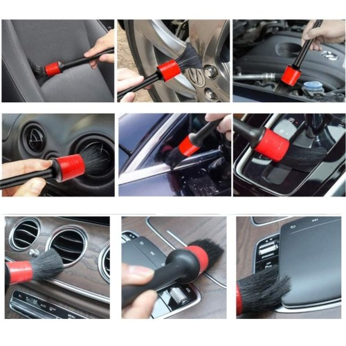 10 PCS Auto Detailing Brush Set for Cleaning Wheels, Interior, Exterior, Leather, Including 5 pcs Premium Detail Brush, 3 pcs Wire Brush and 2 pcs Automotive Air Conditioner Brush