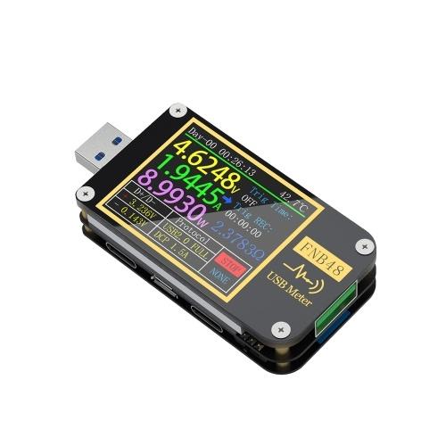 FNIRSI-FNB48 1,77-дюймовый экран дисплея высокой четкости Вольтметр Амперметр Многофункциональный мобильный телефон Тестер быстрой подзарядки Протокол Емкость Тестер