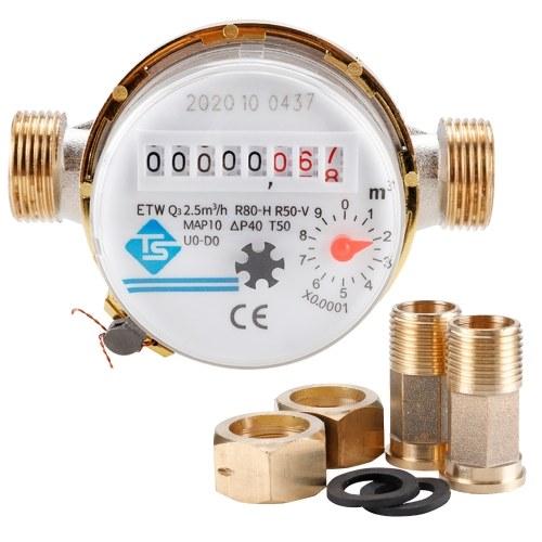 15mm1 / 2インチ冷水計キュービック流量計の読み取り360調整可能な回転式カウンター水測定器0.0001庭および家庭用