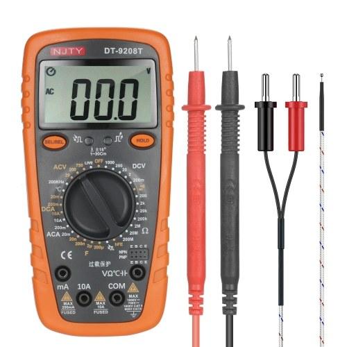 NJTY DT-9208T 2000 zählt Multimeter True RMS 2,6-Zoll-LCD-Digital-Universalmessgerät Mehrzweck zur Messung von AC / DC-Strom AC / DC-Spannungswiderstand Kapazität Frequenz Temperaturdioden und Durchgang