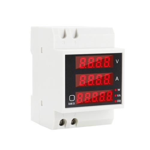 Multi-functional Digital Din Rail Current Voltage Power Ammeter Voltmeter Display Meter AC 80-300V / 100A
