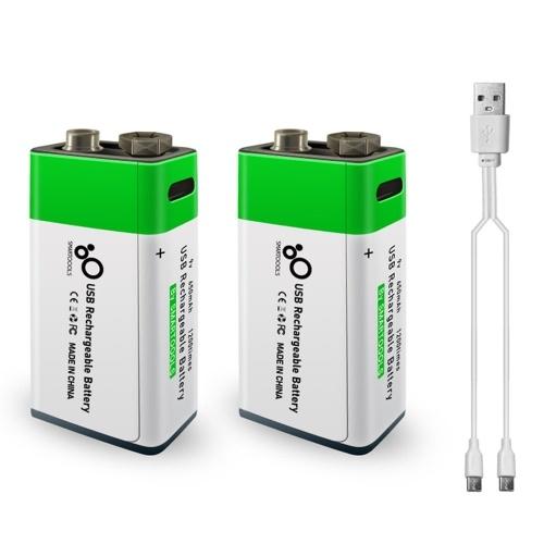 Batteria al litio ricaricabile da 9 V con porta di tipo C 650 mAh Tensione costante ad alta capacità Ricarica rapida Utilità ecologica Batteria riutilizzabile per microfono Chitarra